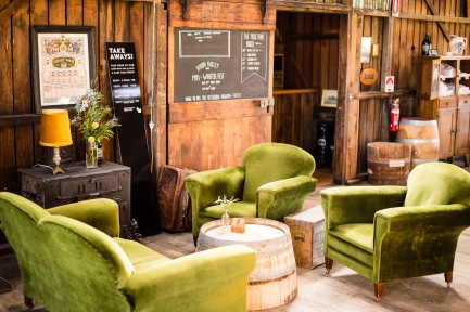Green suede lounges at The Apple Shed